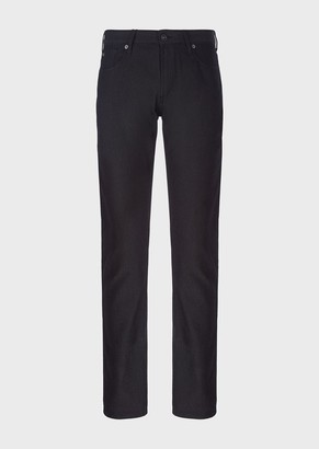 Emporio Armani Slim-Fit J06 Trousers In Textured, Yarn-Dyed Fabric