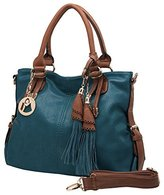 MG Collection THALIA Top Handle Tassel Decor Dark Teal Tote Purse / Shoulderbag