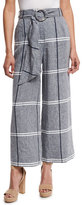 Suno Cropped Plaid Wide-Leg Pants, Chambray