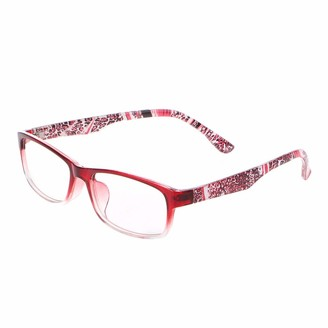 Sqiuxia Women Fashion Reading Glasses Full Frame Flower Temple Glasses Comfortable Clear Vision (150