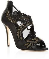 Oscar de la Renta Ambria Embellished Mesh High Heel Sandals
