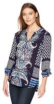 Tribal Women's Roll up Slv Blouse