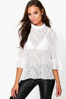Boohoo Rose All Over Lace High Neck Blouse