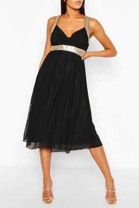 boohoo Boutique Sequin Panel Mesh Midi Dress