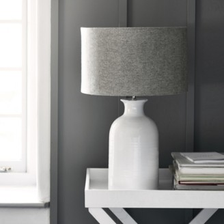 The White Company Ceramic Large Bottle Table Lamp , White Grey, One Size