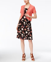 NY Collection Petite Printed Fit & Flare Dress with Shrug