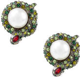 Kenneth Jay Lane Gunmetal and Silver-Plated Faux Pearl Green Snake Earrings