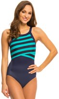 DKNY Iconic Stripes High Neck One Piece Swimsuit 8131680