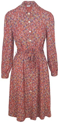 Haris Cotton Viscose Floral Dress With Buttons Cinamon