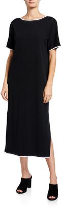 Joan Vass Classic Dress with Contrast Trim