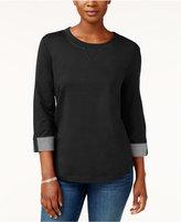 Karen Scott Tab-Sleeve Sweatshirt, Created for Macy's