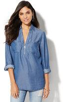 New York & Co. Soho Soft Shirt - Zip-Front - Ultra-Soft Chambray