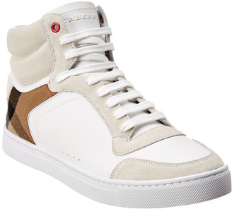 Burberry Reeth Vintage Check & Leather High-Top Sneaker