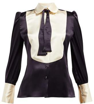 Edeltrud Hofmann - Jolly Pussy-bow Silk Blouse - Womens - Navy Multi