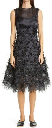 PASKAL clothes Laser Cut Applique Hexagon Organza Midi Dress