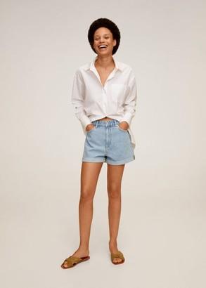 MANGO Rolled-up hem denim shorts light blue - 12 - Women