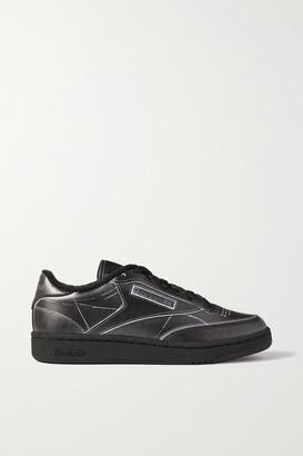 Reebok + Maison Margiela Project 0 Club C Printed Leather Sneakers - Black