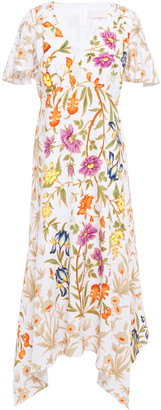 Peter Pilotto Asymmetric Floral-print Cloque Midi Dress