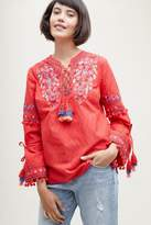 Anthropologie Vanessa Embroidered-Tasselled Peasant Blouse