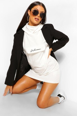 boohoo Balloon Sleeve Sweatshirt Dress