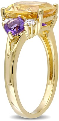 Delmar Yellow Plated Sterling Silver Cushion Shape Citrine Amethyist and White Topaz Ring