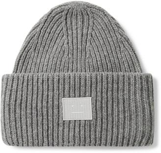 Acne Studios Logo-Appliqued Ribbed Melange Wool Beanie
