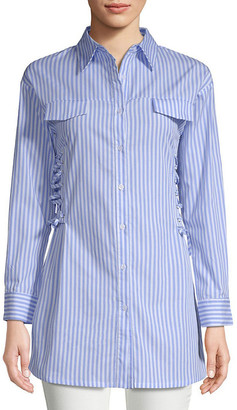 Haute Rogue Long-Line Pinstripe Collared Shirt