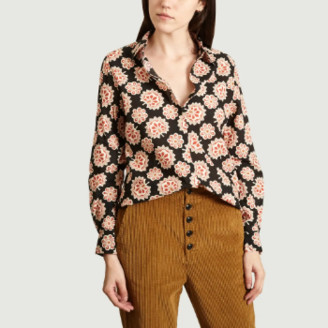 Chloé Stora - Black Cotton Floral Printed Candy Shirt - cotton | black | 36 - Black/Black