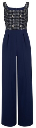 Dorothy Perkins Womens Paper Dolls Navy Textured Button Detail Bodice Jumpsuit
