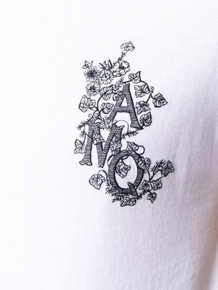 Alexander McQueen Ivi Monogram embroidered T-shirt