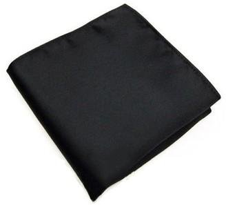 Bodhi2000 Men's Solid Color Silk Satin Pocket Square Handkerchief Wedding Party - Black