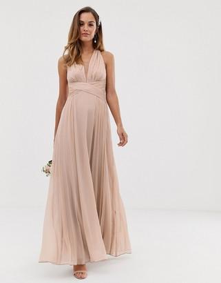 Asos Design DESIGN Bridesmaid ruched bodice drape maxi dress with wrap waist-Beige