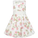 MonnaLisa MonnalisaGirls White Rose Print Dress
