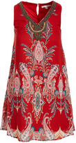 Sandra Darren Orange & Gold Paisley Embellished-Yoke Shift Dress