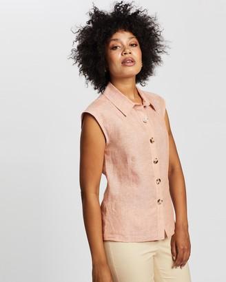 Marcs Sleeveless Linen Shirt