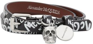 Alexander McQueen Black Allover Graffiti Wrap Bracelet