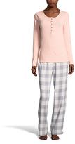 U.S. Polo Assn. Light Peach & Gray Plaid Pajama Set