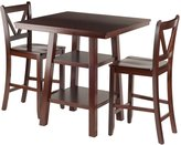 Winsome Wood Orlando 3-Piece Set High Table, 2 Shelves with 2 V-Back Counter Stools