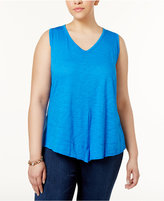 INC International Concepts Plus Size Asymmetrical-Hem Tank, Only at Macy's