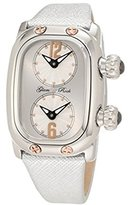 Glam Rock Women's GR72401 Monogram Dual Time Silver Dial Silver Leather Watch