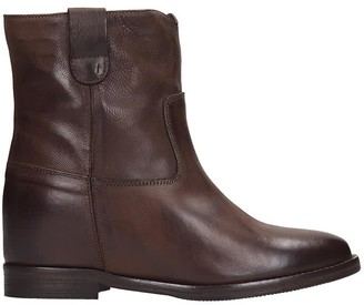 Julie Dee High Heels Ankle Boots In Brown Leather