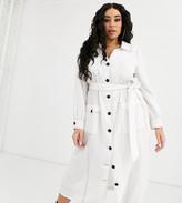 Asos DESIGN Curve contrast stitch midi column shirt dress