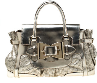 Gucci Gold Metallic GG Gucissima Leather Large Dialux Queen Tote