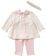 Little Me Baby Girls 3-12 Months Floral-Print Tunic, Matching Headband, and Dotted Leggings Set