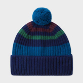 Paul Smith Men's Navy Striped Lambswool Bobble Hat