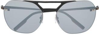 Ermenegildo Zegna Double-Bridge Oversized Sunglasses