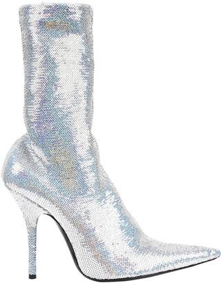 Balenciaga Knife Silver Glitter Boots