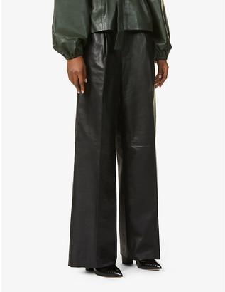 REMAIN Birger Christensen Duchesse wide-leg high-rise leather trousers