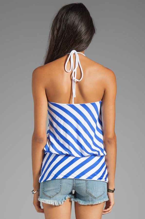 "Susana Monaco Stripe Supplex Silvia 12"" Halter Top"