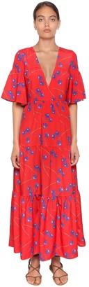 Borgo de Nor Orchid Printed Crepe Long Dress